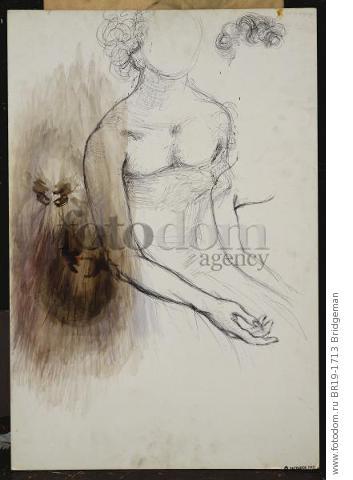 Seated Woman, 1982 (w/c & black ballpoint pen on card) , artist: Dali, Salvador (1904-89)