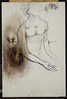 Seated Woman, 1982 (w/c & black ballpoint pen on c