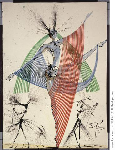 Design for the Harkness Ballet, 1966 (gouache, pen with blue & black ink on paper) , artist: Dali, Salvador (1904-89)