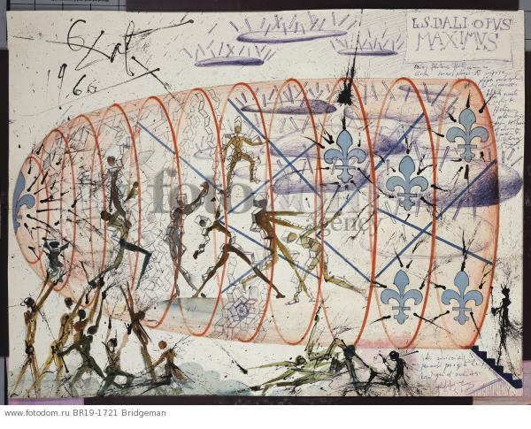 Design for the Harkness Ballet, 1966 (w/c, pen & brush with blue and black ink on paper) , artist: Dali, Salvador (1904-89)