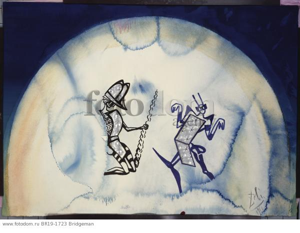 Design for the Harkness Ballet, 1966 (w/c, pen & brush with blue and black ink and collage on paper) , artist: Dali, Salvador (1904-89)