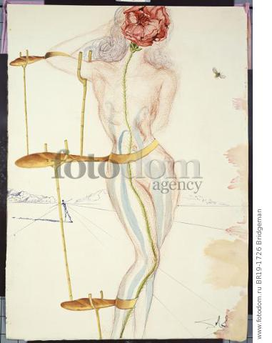 Design for the Harkness Ballet, 1966 (gouache, w/c, pen & ink and red chalk on paper) , artist: Dali, Salvador (1904-89)