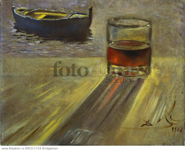 Glass of Wine and Boat, 1956 (oil on canvas) , artist: Dali, Salvador (1904-89)