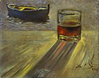 Glass of Wine and Boat, 1956 (oil on canvas) , art
