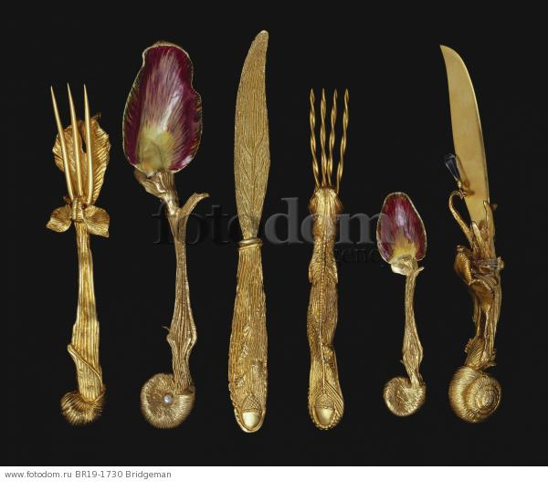 Six-piece set of cutlery (silver-gilt) , artist: Dali, Salvador (1904-89)