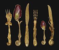 Six-piece set of cutlery (silver-gilt) , artist: D