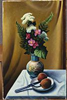 Still Life with Vase and Peaches, 1967 (oil & temp