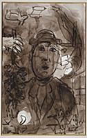 Man Wearing a Hat, 1962 (pen & Indian ink and wash