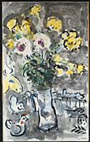 Vase of Flowers, 1958 (gouache, pastel, black ink