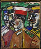 Soldiers, 1912 (gouache on board) , artist: Chagal
