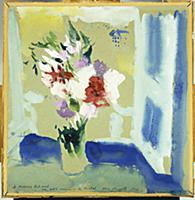 Vase of Flowers in Front of a Window, 1927 (gouach