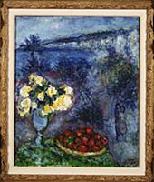 Flowers and Fruit in Front of the Sea (oil on canv