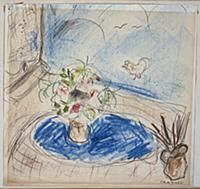 Vase of Flowers on a Blue Tablecloth (coloured wax