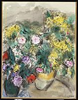 Two Vases of Flowers, c.1949 (pastel, gouache, w/c