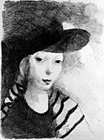 Self Portrait, 1927 (litho) , artist: Laurencin, M