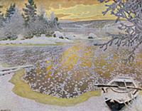 Frost on Ice, 1924 (colour litho) , artist: Fjaest