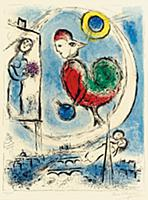 The Rooster Over Paris, 1958 (colour litho) , arti