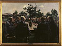 The Funeral Meal, 1886 (oil on canvas) , artist: F