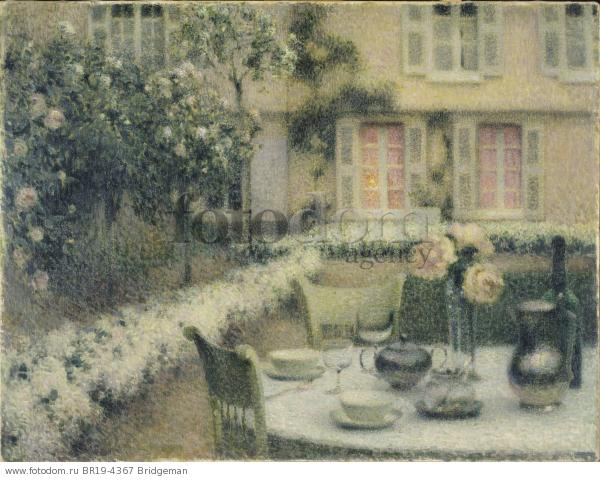 The Table in the White Garden at Gerberoy, 1900 (oil on canvas) , artist: Le Sidaner, Henri Eugene Augustin (1862-1939)