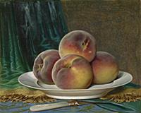 HGH3359377 Peaches on a White Plate, c.1880 (gouac