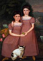 HGH3359375 Hamilton Sisters with Cat, 1825 (oil on