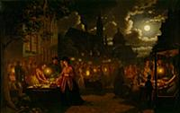 HGH3359389 Moonlit Market, 1874 (oil on canvas) by