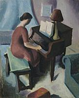 HGH3359380 Woman at Piano, c.1926 (oil on paper) b