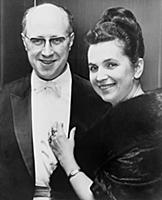 Mstislav Rostropovich (1927-2007), with his wife,