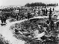 The Soviet prisoners of a Gulag are working for th