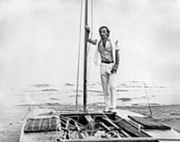 3615471 Charles Aznavour on a boat at the beach of