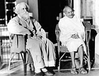 2632450 Mahatma Gandhi with poet Rabindranath Tago