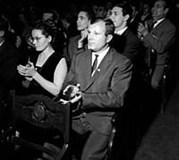 3615783 Yuri Gagarin and his wife are applauding,