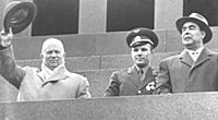 3906034 Nikita Khrushchev with Yuri Gagarin and Le