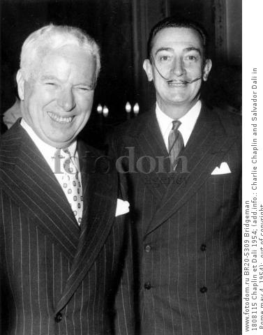 1808115 Chaplin et Dali 1954; (add.info.: Charlie Chaplin and Salvador Dali in Rome may 4, 1954);  out of copyright.