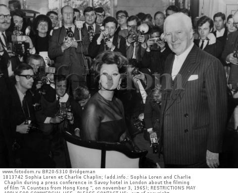 1813742 Sophia Loren et Charlie Chaplin; (add.info.: Sophia Loren and Charlie Chaplin during a press conference in Savoy hotel in London about the filming of film 'A Countess from Hong Kong ', on november 3, 1965); RESTRICTIONS MAY APPLY FOR COMMERCIAL USE - PLEASE CONTACT US;  out of copyright.