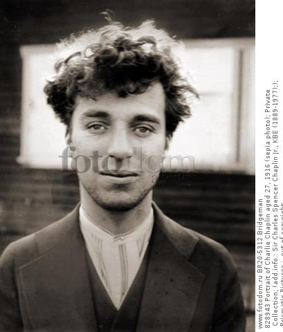 828943 Portrait of Charlie Chaplin aged 27, 1916 (sepia photo); Private Collection; (add.info.: Sir Charles Spencer Chaplin Jr., KBE (1889-1977);); Prismatic Pictures ;  out of copyright.