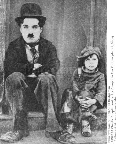 2656194 Charlie Chaplin and Jackie Coogan in The Kid (b/w photo); Ewing Galloway/UIG;  out of copyright.