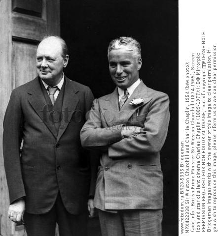 MPX422338 Sir Winston Churchill and Charlie Chaplin, 1954 (b/w photo); (add.info.: British Prime Minister Sir Winston Churchill (1874-1965); Screen icon and star of silent cinema Charles Chaplin (1889-1977);); В© Mirrorpix; PERMISSION REQUIRED FOR NON EDITORIAL USAGE;  out of copyright.  PLEASE NOTE: Bridgeman Images works with the owner of this image to clear permission. If you wish to reproduce this image, please inform us so we can clear permission for you.
