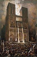 XIR229969 The Populace Besieging Notre-Dame (pen &
