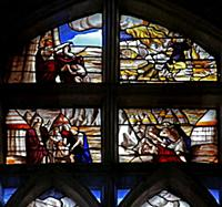 720559 Window w128 depicting scenes from the histo