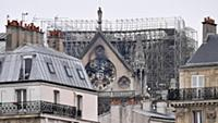 16.04.2019 The burnt Notre Dame Cathedral is pictu