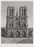 3097070 Facade of Notre Dame de Paris (b/w photo)