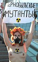 An activist of the FEMEN movement at the Brothel T