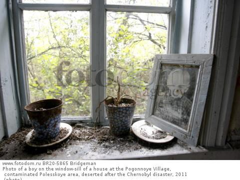 Photo of a boy on the window-sill of a house at the Pogonnoye Village, contaminated Polesskoye area, deserted after the Chernobyl disaster, 2011 (photo)
