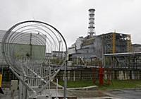 The large concrete shelter over the Chernobyl nucl