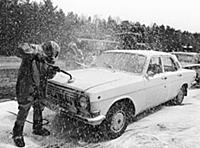 A car leaving the Chernobyl disaster area at the s