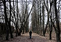 Man walking in r forsaken park, Savichi Village on