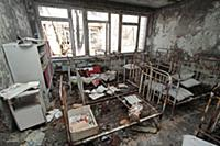 Beds in a kindergarten in the town of Pripyat, aba