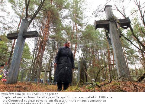 Displaced woman from the village of Belaya Soroka, evacuated in 1986 after the Chernobyl nuclear power plant disaster, in the village cemetery on Radunitsa remembrance day, 2012 (photo)