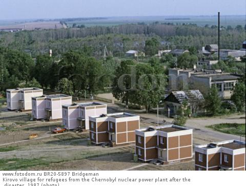Kirovo village for refugees from the Chernobyl nuclear power plant after the disaster, 1987 (photo)